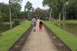 Author Sam Hennessy & Luci West at Angkor Wat, Cambodia - photo taken by Luci
