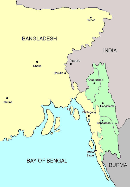 The Chittagong Hill Tracts / comprise an area of 13,295 square kilometres in southeastern Bangladesh and border India and Myanmar (areas shaded in green) - Google Images