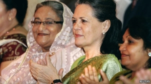 Sheikh Hasina, the Prime Minister of Bangladesh and the head of ruling Awami League (left) and Sonia Gandhi, head of India's ruling Congress Party (Goggle Image)