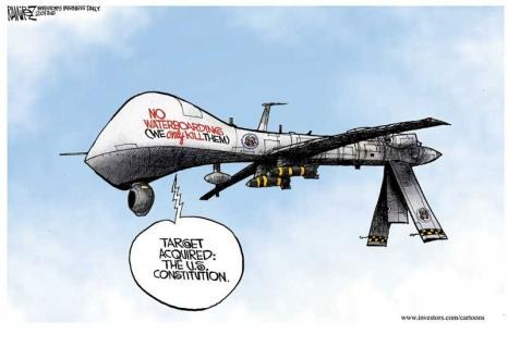 Us Drones No Waterboarding We Only Kill Them Cartoon