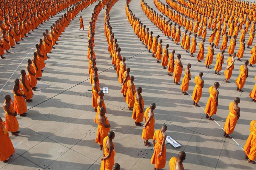 The Sangha refers to the Buddhist community; usually comprising of monks, nuns and novices (lay people) - Google Images