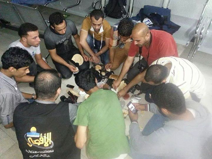Palestinian journalists come together to break their fast admits an environment of constant distress - Photo courtesy of 'Urgent by Gaza' Facebook page
