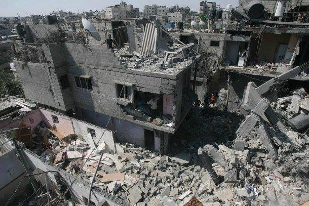 Rubble of a bomb stricken building in Gaza -Photo courtesy of 'Urgent by Gaza' Facebook page