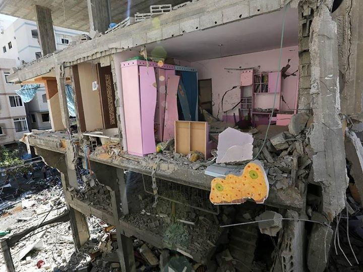 What remains of a young Palestinian girls bedroom - Photo courtesy of 'Urgent by Gaza' Facebook page