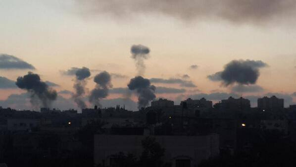 Israeli forces bomb Gaza under operation 'Protective Edge' – Photo courtesy of 'Urgent from Gaza' Facebook page