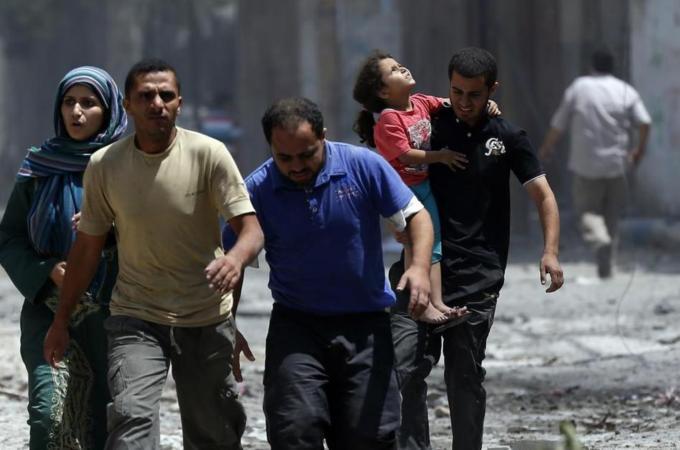Some of the few survivors from Shujayea. Residents had little where to run - Al Jazeera