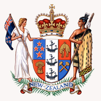 The NZ Coat of Arms representing both Maori and European populations - Google Images