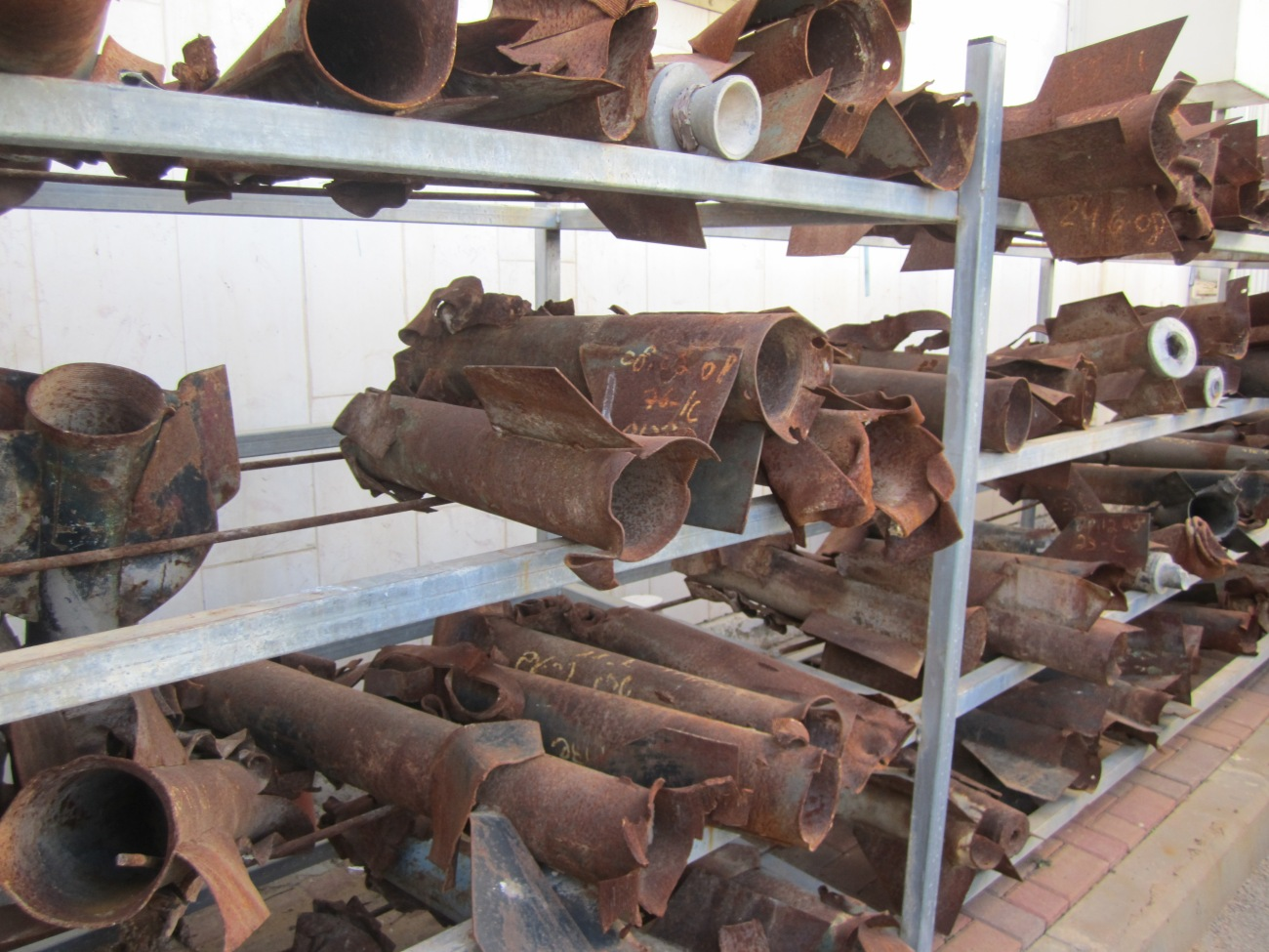 Above some of the rocket  that have hit Sderot over the years- Google Image