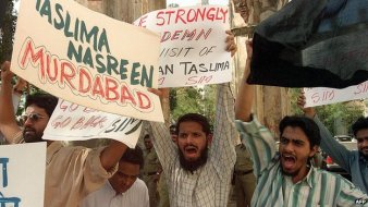 Protests against Nasreen for her claims about the 'revision' of the Quran.