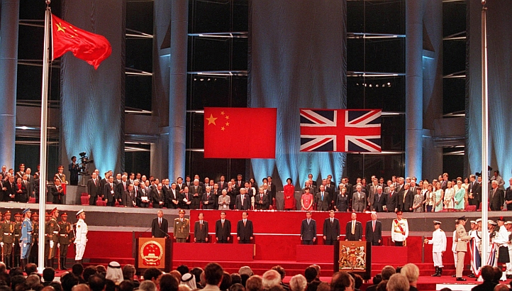 At midnight on July 1, 1997, Hong Kong reverted back to Chinese rule in a ceremony attended by British Prime Minister Tony Blair, Prince Charles of Wales, Chinese President Jiang Zemin, and U.S. Secretary of State Madeleine Albright. A few thousand Hong Kongers protested the turnover, which was otherwise celebratory and peaceful - Google Images