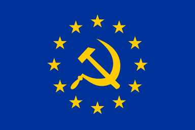 "The ""EUSSR"" flag, used by Eurosceptics to compare the EU to the USSR."