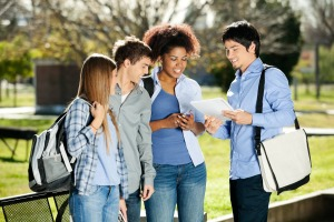 Students Discussing In Campus