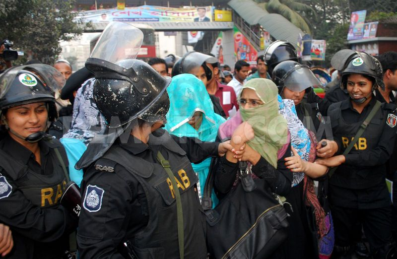 Chapter 4 and 5 deals with Jamaat in Bangladesh. The photo shows 13 Jamaat e Islami Bangladesh women member were being held in Dhaka recently-Google Image