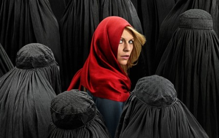 """A blonde, white Red Riding Hood lost in a forest of faceless Muslim wolves"" - Washington Post's description of a poster from popular television show ""Homeland"" (photo: WaPo)"